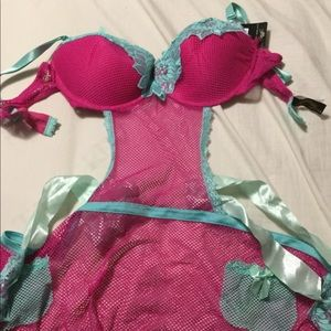 Other - NWT Plus size apron style bright pink lingerie